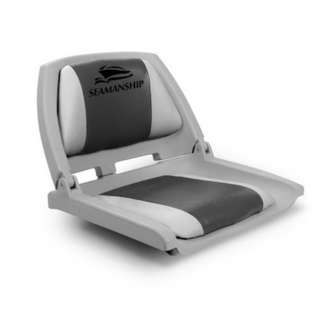 Folding Swivel Boat Comfortable Padded Seat Grey & Charcoal UV Resistent PVC