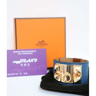 90% New HERMES CDC (S) Blue Swift 金扣 皮革 手鐲 Bracelet With Gold Hardware