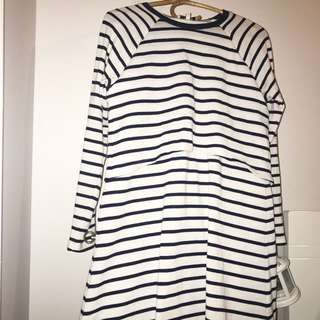 Miss Shop Striped Layered Long Sleeve Dress