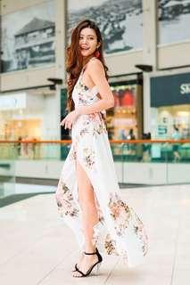 INSTOCKS Bohemian Iris Halter Slit Maxi Dress