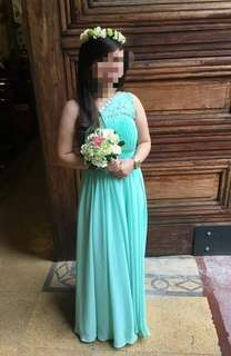 Long gown blue green