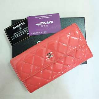 80% New CHANEL A50096 橙粉紅色 漆皮 銀色 CC Logo 長銀包 Orange Pink Patent Long Wallet with Silver CC Logo