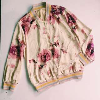 Statement floral varsity jacket
