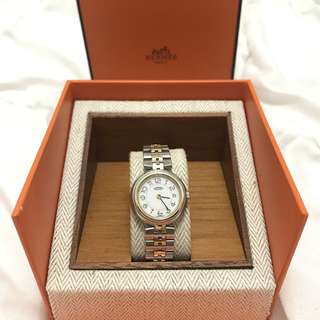 Preloved Hermes Gold-Plated Stainless Steel Clipper Women's Wristwatch
