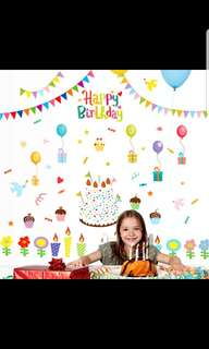Birthday cake party cartoon children's room school kindergarten atmosphere decoration decoration removable wall stickers