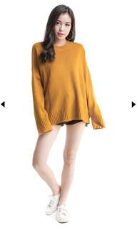 Mustard / yellow knit pullover / sweater
