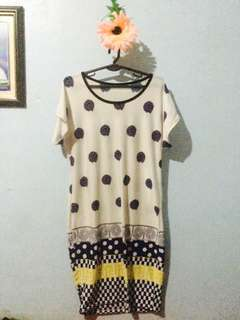 White polkadots night dress/daster
