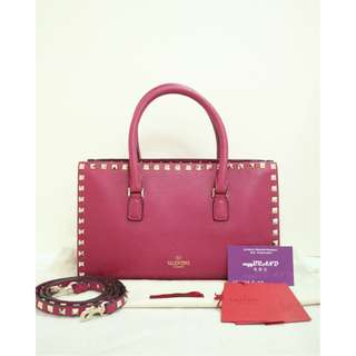全新 VALENTINO Rockstud Tote 紫紅色 牛皮  窩釘 手袋 肩背袋 側背袋 Purple Red Calfskin Hadbag 7M181U