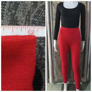 Red thick leggings