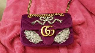Gucci Marmont embroidered leather velvet bag.
