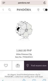 Pandora White Primerose Clip