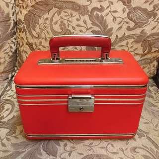 台灣 早期收藏 紅色 經典 老件 懷舊 台式 硬殼 化妝箱