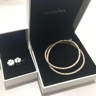 Pandora Leather Bracelet and 2 White Primerose clips