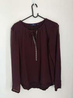 Blouse Red dark / baju lebaran