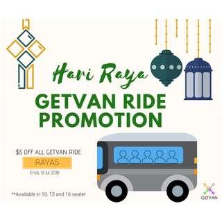Hari Raya GetVan Ride (Passenger Van with Driver) PROMO 2018