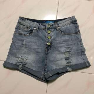 Temt denim ripped high waist shorts