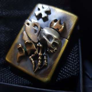 Custom Made Skeleton Reaper Skull on Original Brass Zippo Lighter
