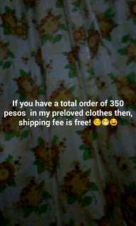 Free delivery if you have a total of 350+