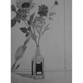 Floral Pencil Drawing