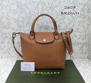 Longchamp Le Pliage Cuir Brown