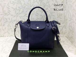 Longchamp Le Pliage Cuir Blue