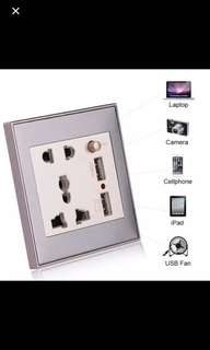 BNIB Universal Power Socket with USB (concealed)