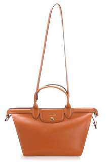 9884d0abfda78 Longchamp Le Pliage Héritage Large Leather Top Handle Tote