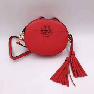 Tory Burch McGraw Round Crossbody - red