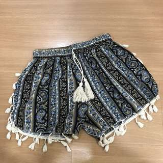 Bohemian Tassel Shorts in Blue