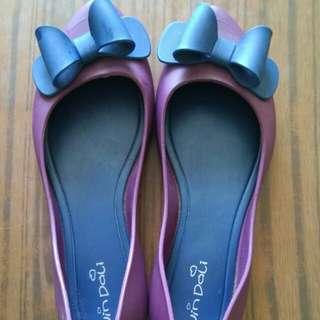 韓國女裝蝴蝶結平底防水膠鞋 37碼 紫色