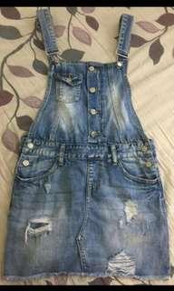 Ripped Denim Jumper Skirt