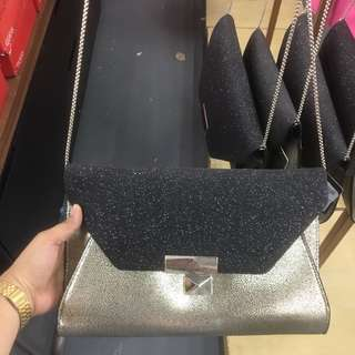Guess Gold And Black Sling Bag
