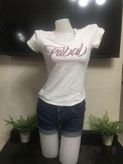 Tribal Shirt White & Blue Denim Short