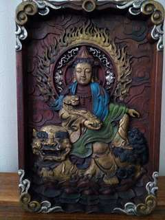Wooden buddha board (wood craving)