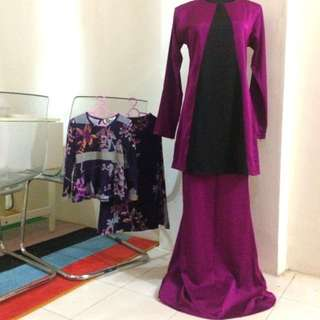 Sedondon ibu & anak ungu manggis baju kurung / peplum