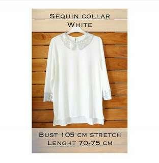Collar top white, black