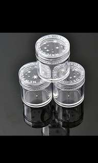 3× Plastic Round Clear Empty Nail Art Storage Box Rhinestone Bead Cantainer