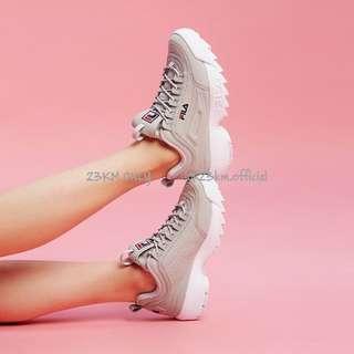 🚚 23公里(免運)Fila 鋸齒鞋 Disruptor2 增高 厚底 白 灰色 粉紅 白粉 韓妞 素 老爹鞋 老爸鞋 送禮