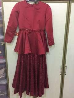 duchess peplum with sequin skirt