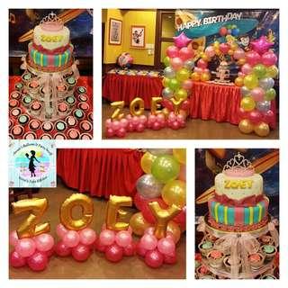 Princess Theme Cake & Cupcake Tower with Balloon Arrangement