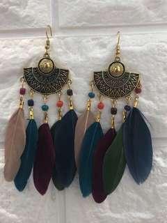 Bohemian Feather Tassel Earrings