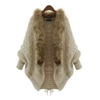 Batwing sleeve Lace-up fur collar knitted sweater coat fluffy long cardingan autumn winter outerwear (woolen jacket shawl jumper hat scarf turtleneck boot)