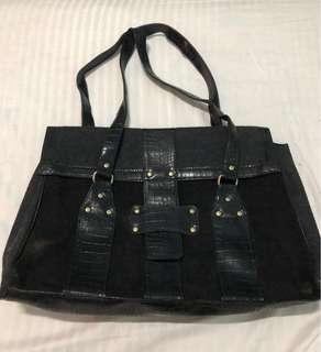 Black Shoulder Bag / office bag / laptop bag (12x17inches)