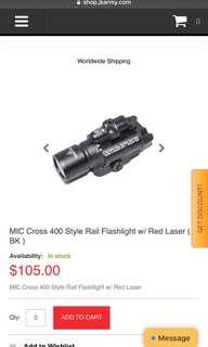 MIC Cross 400 Style Rail Flashlight Red Laser