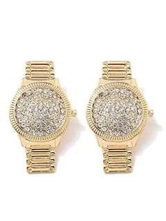 韓國個性閃鑽blingbling hiphop手錶型耳環