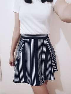 H&M Divided Stripe Skater Skirt (Dark Blue/Black)