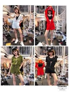 🚚 韓版時尚休閒兩件式套裝連帽外套休鬆緊腰短褲棒球外套風衣