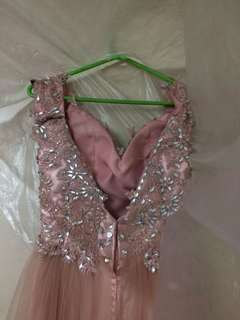 ROSEGOLD OFF SHOULDER BACKLESS GOWN FOR SALE
