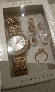 FERVOR Rose Gold ladies Watch and Jewellery Set