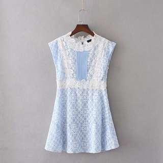 🚚 高級訂製水藍蕾絲連衣裙洋裝(S號)